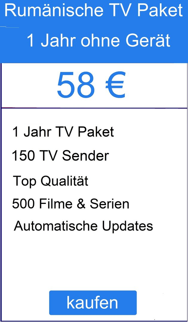 Romania Paket- TV Liste ohne Gerät + 2 Jahre frei